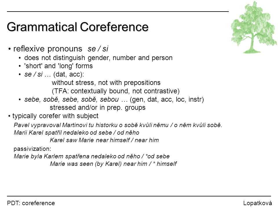 PDT: coreference Lopatková Grammatical Coreference reflexive pronouns se / si does not distinguish gender, number and person 'short' and 'long' forms