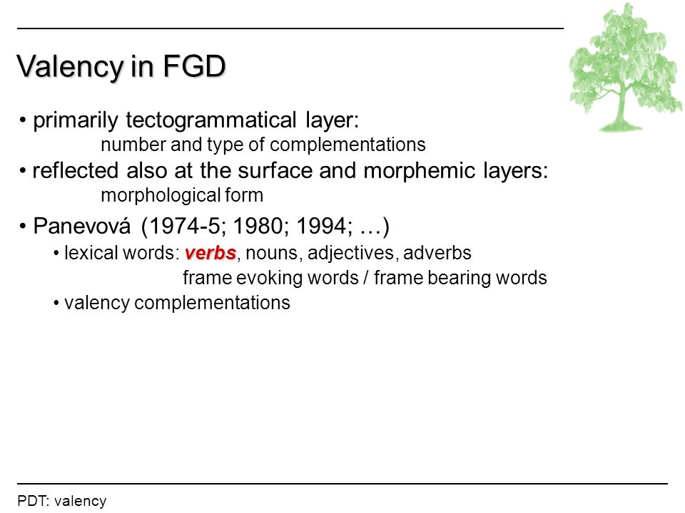 primarily tectogrammatical layer: number and type of complementations reflected also at the surface and morphemic layers: morphological form Panevová