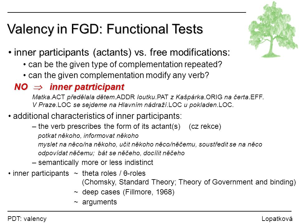 PDT: valency Lopatková Valency in FGD: Functional Tests inner participants (actants) vs. free modifications: can be the given type of complementation