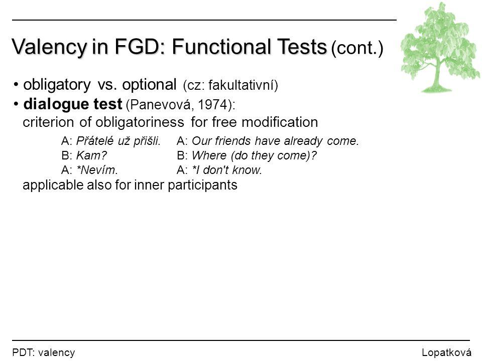 PDT: valency Lopatková Valency in FGD: Functional Tests Valency in FGD: Functional Tests (cont.) obligatory vs. optional (cz: fakultativní) dialogue t