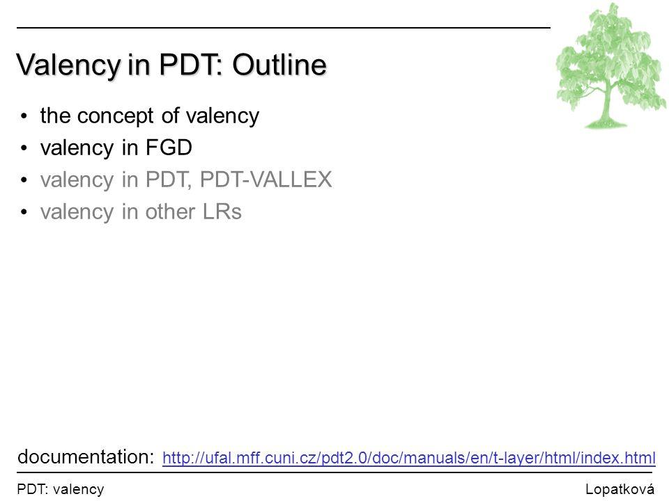 PDT: valency Lopatková Valency in PDT: Outline the concept of valency valency in FGD valency in PDT, PDT-VALLEX valency in other LRs documentation: ht
