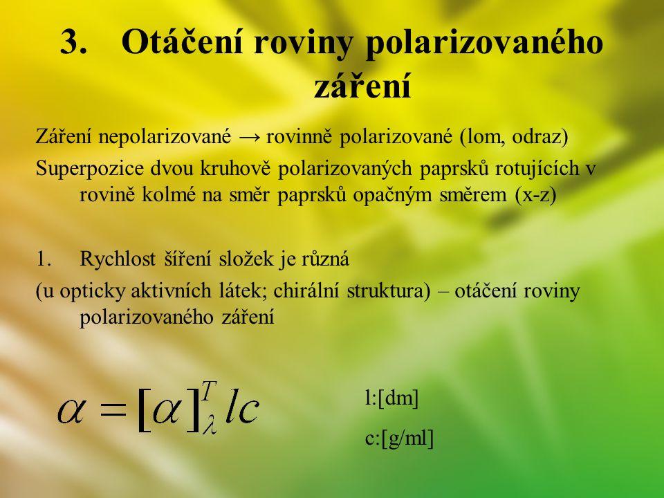 3.Otáčení roviny polarizovaného záření Záření nepolarizované → rovinně polarizované (lom, odraz) Superpozice dvou kruhově polarizovaných paprsků rotuj