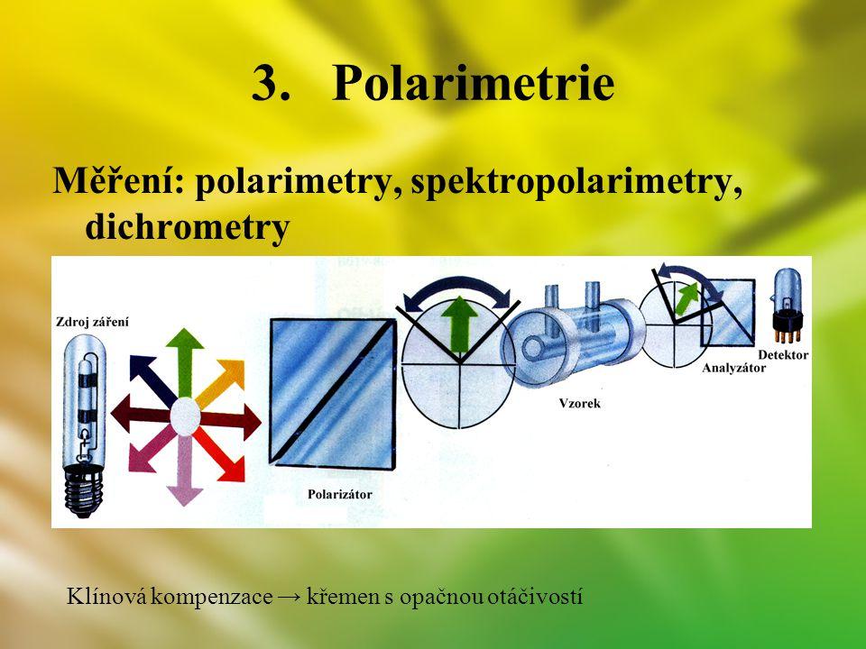 3.Polarimetrie Měření: polarimetry, spektropolarimetry, dichrometry Klínová kompenzace → křemen s opačnou otáčivostí