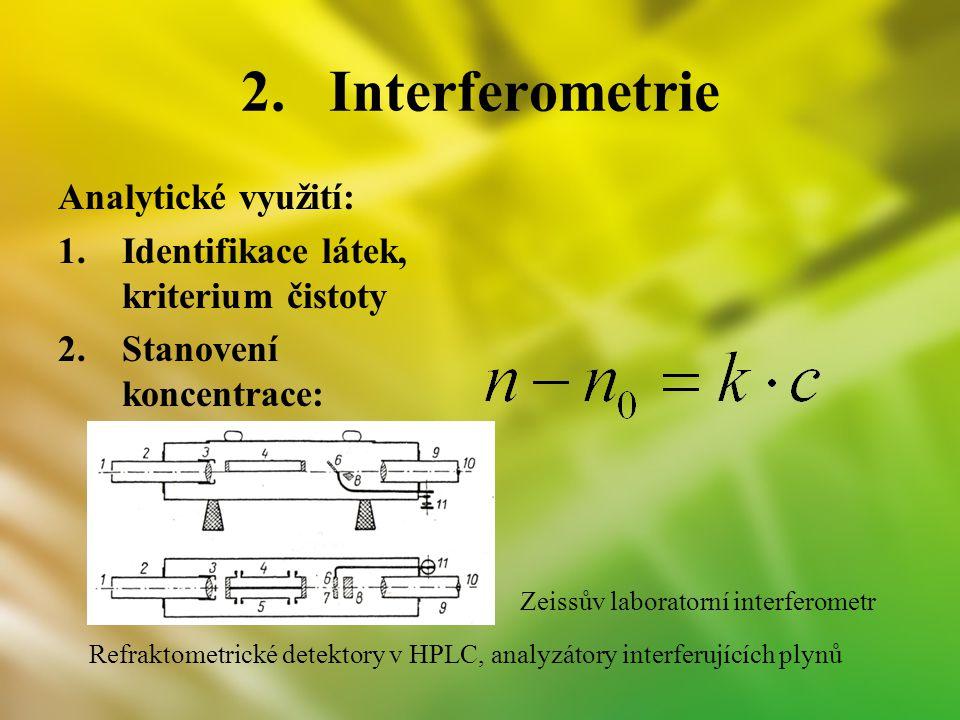 2.Interferometrie Analytické využití: 1.Identifikace látek, kriterium čistoty 2.Stanovení koncentrace: Refraktometrické detektory v HPLC, analyzátory