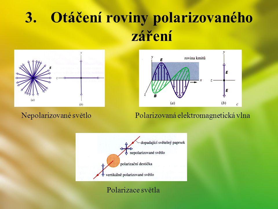 3.Otáčení roviny polarizovaného záření Nepolarizované světlo Polarizace světla Polarizovaná elektromagnetická vlna