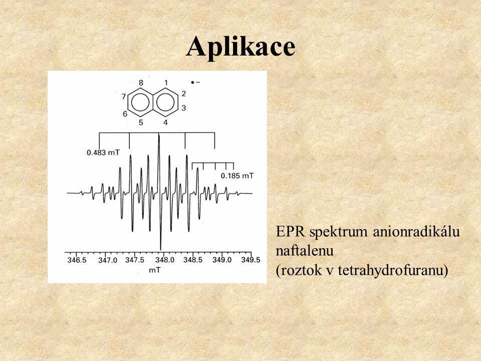 Aplikace EPR spektrum anionradikálu naftalenu (roztok v tetrahydrofuranu)