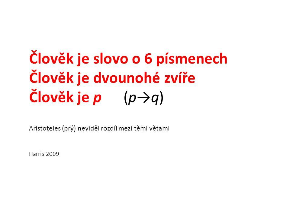 Člověk je slovo o 6 písmenech Člověk je dvounohé zvíře Člověk je p (p→q) Aristoteles (prý) neviděl rozdíl mezi těmi větami Harris 2009