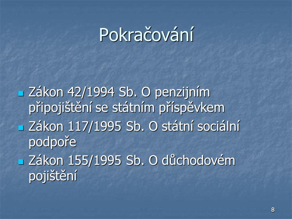 8 Pokračování Zákon 42/1994 Sb. O penzijním připojištění se státním příspěvkem Zákon 42/1994 Sb.