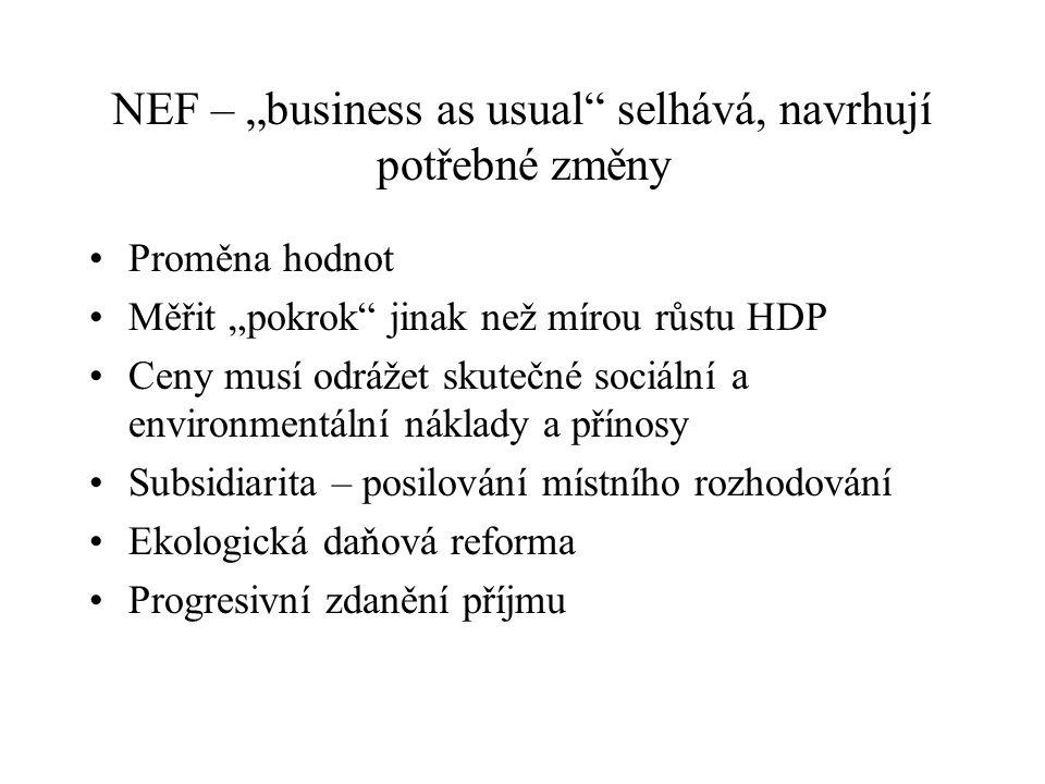 """NEF – """"business as usual"""" selhává, navrhují potřebné změny Proměna hodnot Měřit """"pokrok"""" jinak než mírou růstu HDP Ceny musí odrážet skutečné sociální"""