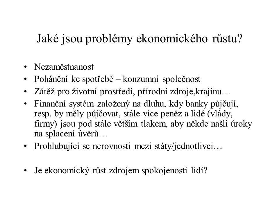 Jaké jsou problémy ekonomického růstu? Nezaměstnanost Pohánění ke spotřebě – konzumní společnost Zátěž pro životní prostředí, přírodní zdroje,krajinu…