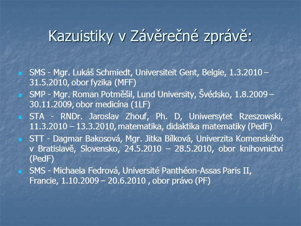 Kazuistiky v Závěrečné zprávě: SMS - Mgr. Lukáš Schmiedt, Universiteit Gent, Belgie, 1.3.2010 – 31.5.2010, obor fyzika (MFF) SMP - Mgr. Roman Potměšil