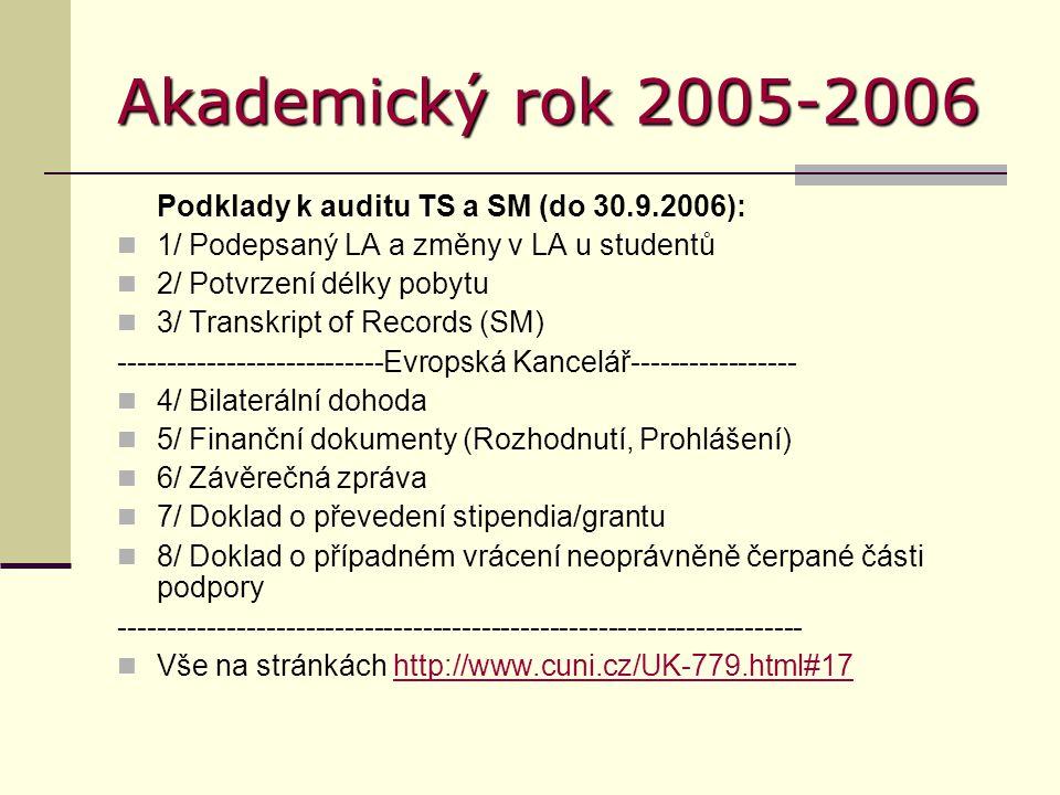 Akademický rok 2005-2006 Podklady k auditu TS a SM (do 30.9.2006): 1/ Podepsaný LA a změny v LA u studentů 2/ Potvrzení délky pobytu 3/ Transkript of Records (SM) ---------------------------Evropská Kancelář----------------- 4/ Bilaterální dohoda 5/ Finanční dokumenty (Rozhodnutí, Prohlášení) 6/ Závěrečná zpráva 7/ Doklad o převedení stipendia/grantu 8/ Doklad o případném vrácení neoprávněně čerpané části podpory ---------------------------------------------------------------------- Vše na stránkách http://www.cuni.cz/UK-779.html#17http://www.cuni.cz/UK-779.html#17