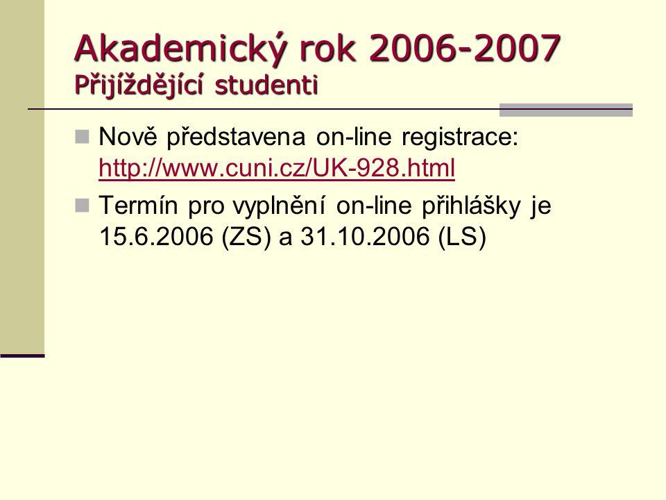 Akademický rok 2006-2007 Přijíždějící studenti Nově představena on-line registrace: http://www.cuni.cz/UK-928.html http://www.cuni.cz/UK-928.html Term