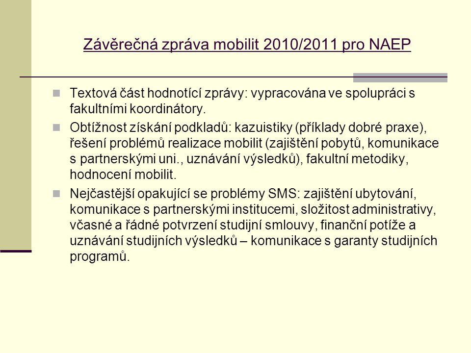 Závěrečná zpráva mobilit 2010/2011 pro NAEP Textová část hodnotící zprávy: vypracována ve spolupráci s fakultními koordinátory. Obtížnost získání podk