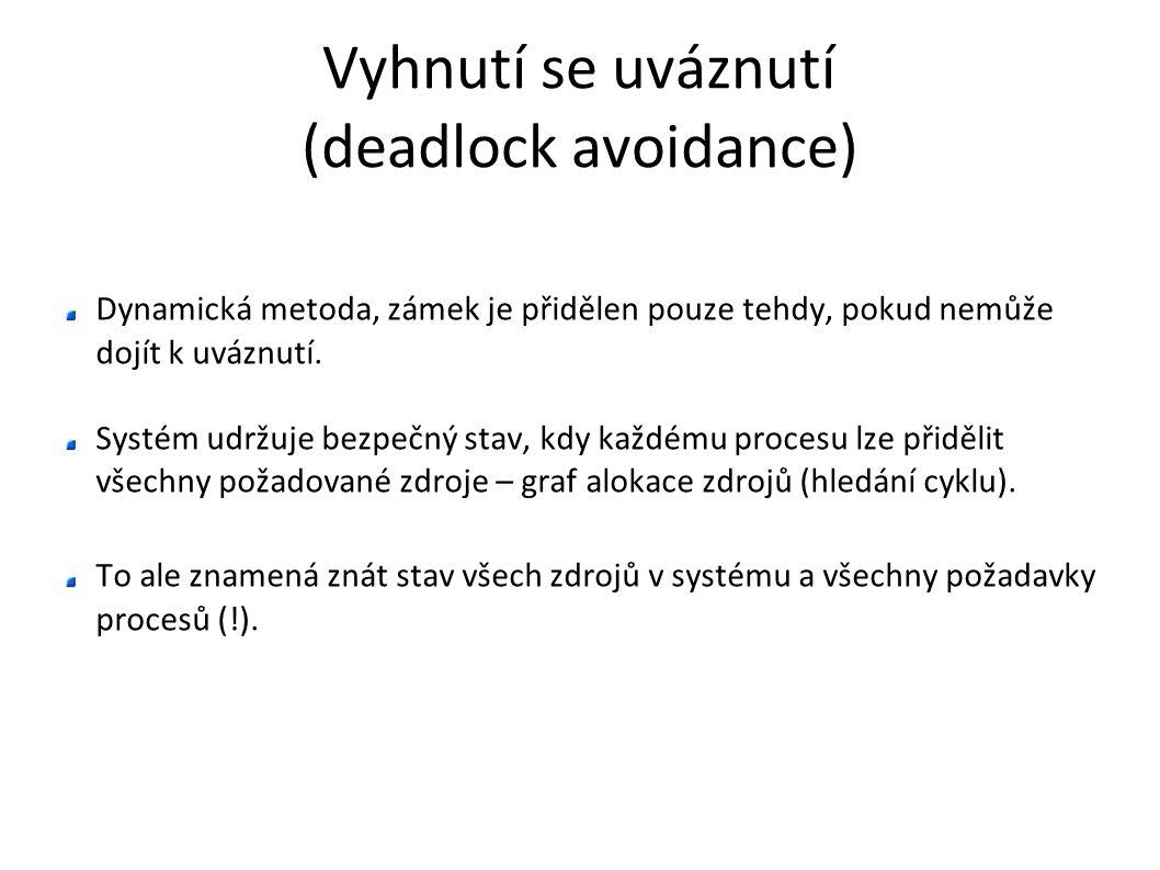 Vyhnutí se uváznutí (deadlock avoidance) Dynamická metoda, zámek je přidělen pouze tehdy, pokud nemůže dojít k uváznutí. Systém udržuje bezpečný stav,