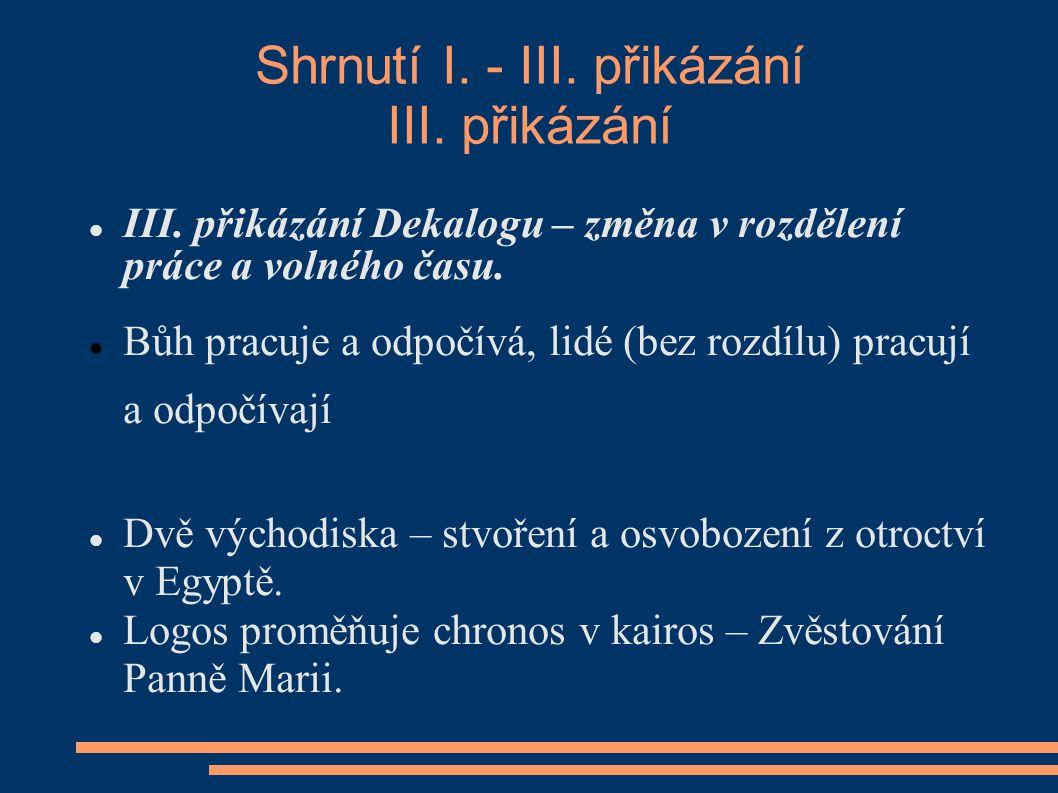 Shrnutí I. - III. přikázání III. přikázání III.