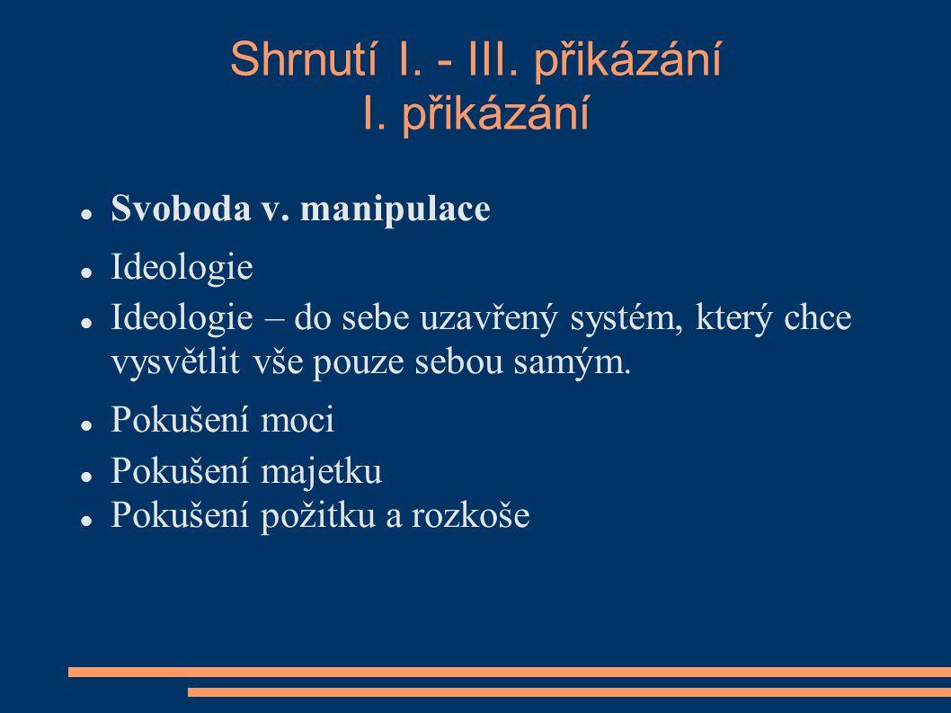 Shrnutí I. - III. přikázání I. přikázání Svoboda v.
