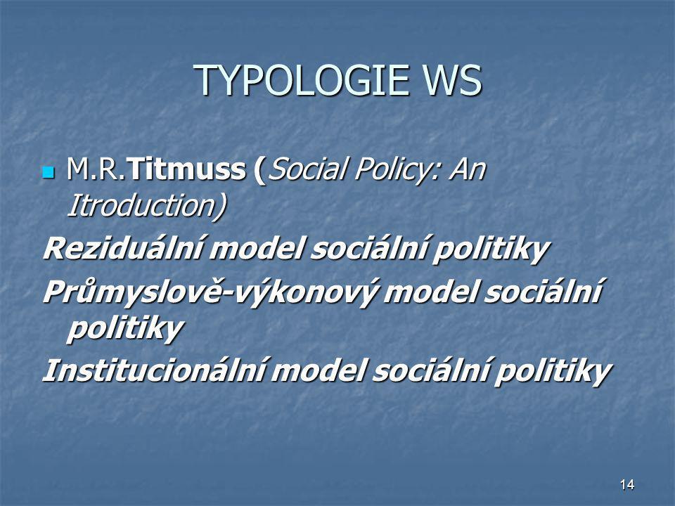 14 TYPOLOGIE WS M.R.Titmuss (Social Policy: An Itroduction) M.R.Titmuss (Social Policy: An Itroduction) Reziduální model sociální politiky Průmyslově-