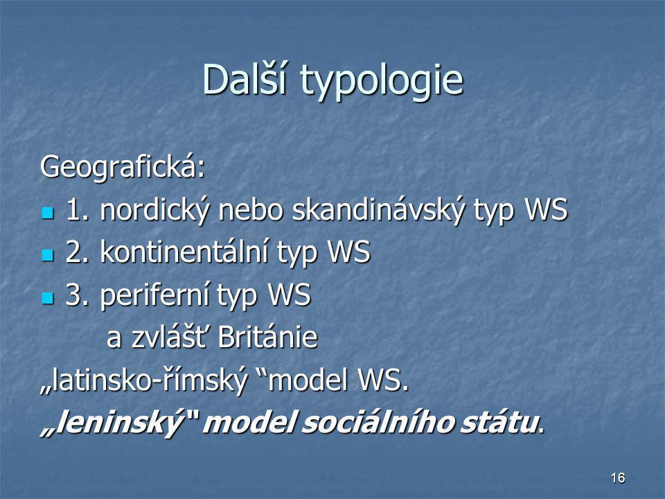 16 Další typologie Geografická: 1. nordický nebo skandinávský typ WS 1. nordický nebo skandinávský typ WS 2. kontinentální typ WS 2. kontinentální typ