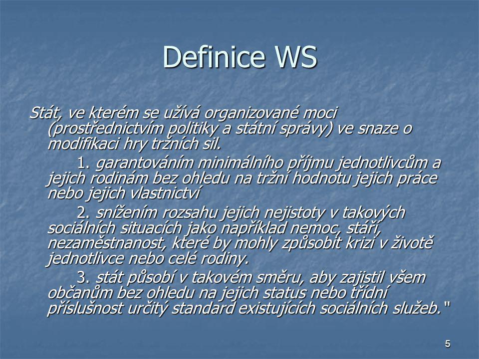 5 Definice WS Stát, ve kterém se užívá organizované moci (prostřednictvím politiky a státní správy) ve snaze o modifikaci hry tržních sil. 1. garantov