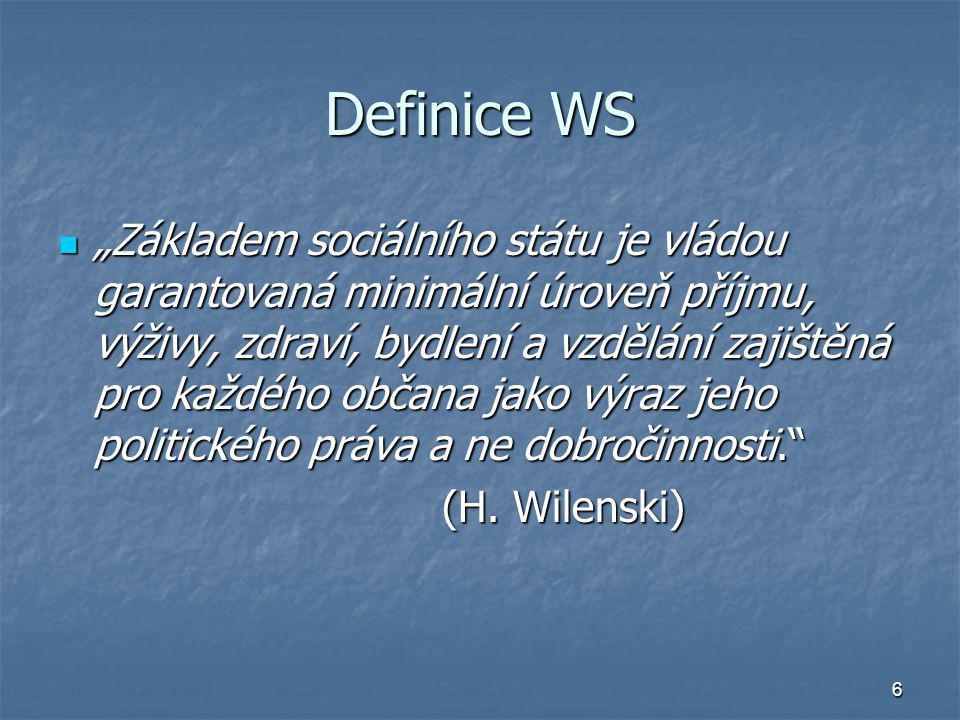 """6 Definice WS """"Základem sociálního státu je vládou garantovaná minimální úroveň příjmu, výživy, zdraví, bydlení a vzdělání zajištěná pro každého občan"""