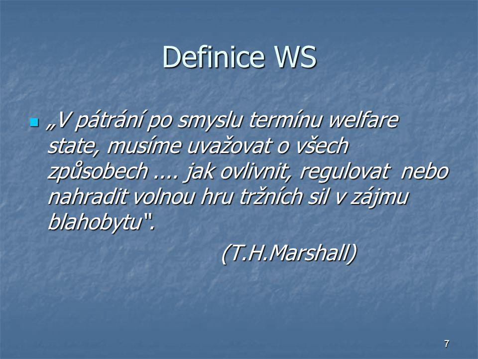 """7 Definice WS """"V pátrání po smyslu termínu welfare state, musíme uvažovat o všech způsobech.... jak ovlivnit, regulovat nebo nahradit volnou hru tržní"""
