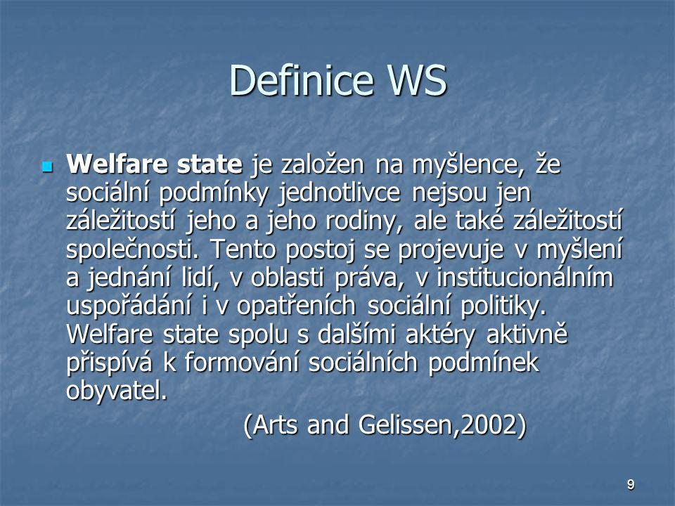 9 Definice WS Welfare state je založen na myšlence, že sociální podmínky jednotlivce nejsou jen záležitostí jeho a jeho rodiny, ale také záležitostí s