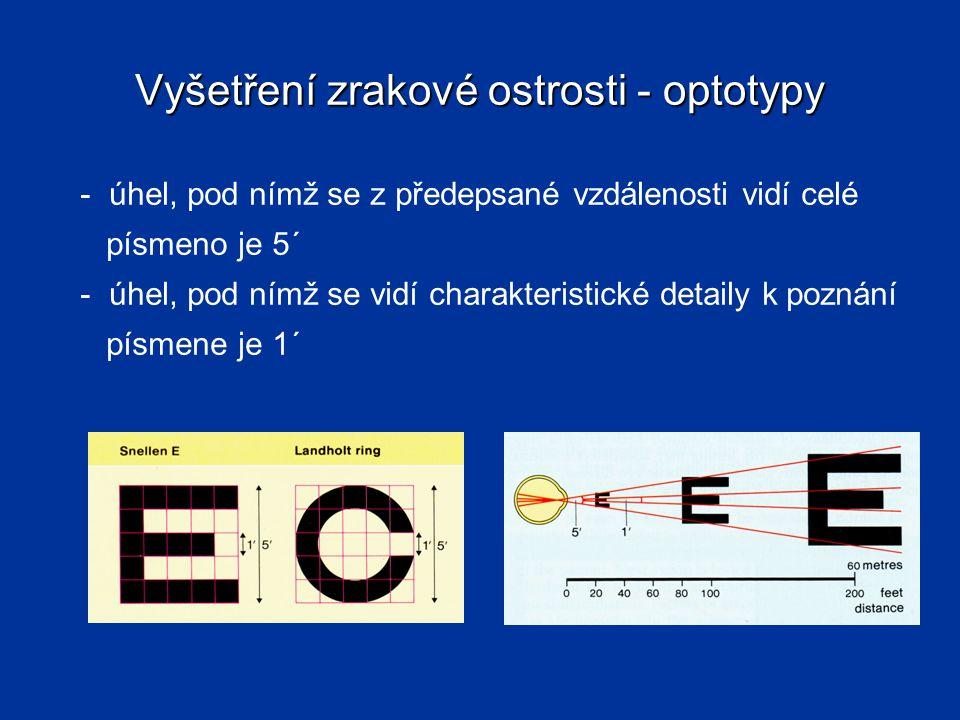 Vyšetření zrakové ostrosti - optotypy - úhel, pod nímž se z předepsané vzdálenosti vidí celé písmeno je 5´ - úhel, pod nímž se vidí charakteristické d
