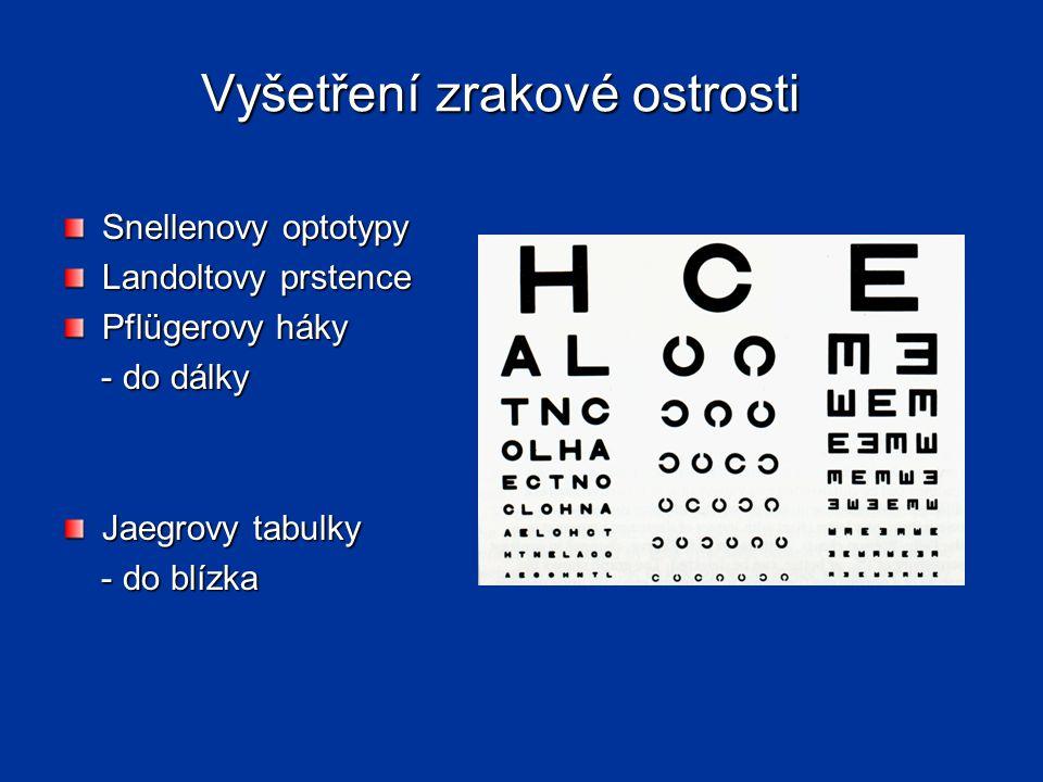 Vyšetření zrakové ostrosti Snellenovy optotypy Landoltovy prstence Pflügerovy háky - do dálky - do dálky Jaegrovy tabulky - do blízka - do blízka