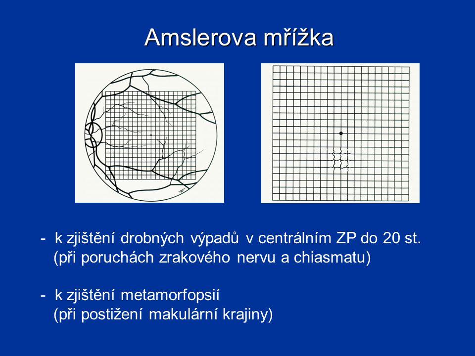Amslerova mřížka - k zjištění drobných výpadů v centrálním ZP do 20 st. (při poruchách zrakového nervu a chiasmatu) - k zjištění metamorfopsií (při po
