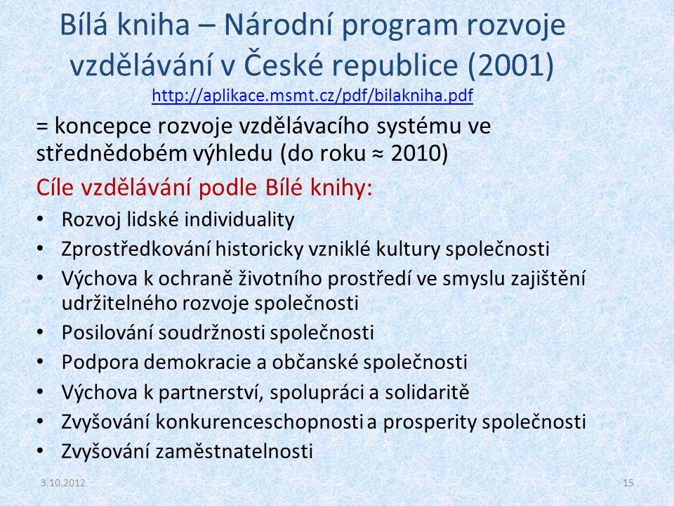 Bílá kniha – Národní program rozvoje vzdělávání v České republice (2001) http://aplikace.msmt.cz/pdf/bilakniha.pdf http://aplikace.msmt.cz/pdf/bilakni