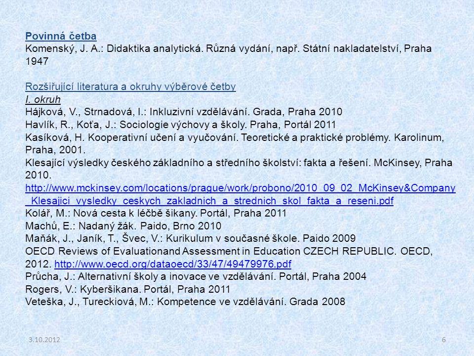 6 Povinná četba Komenský, J. A.: Didaktika analytická. Různá vydání, např. Státní nakladatelství, Praha 1947 Rozšiřující literatura a okruhy výběrové