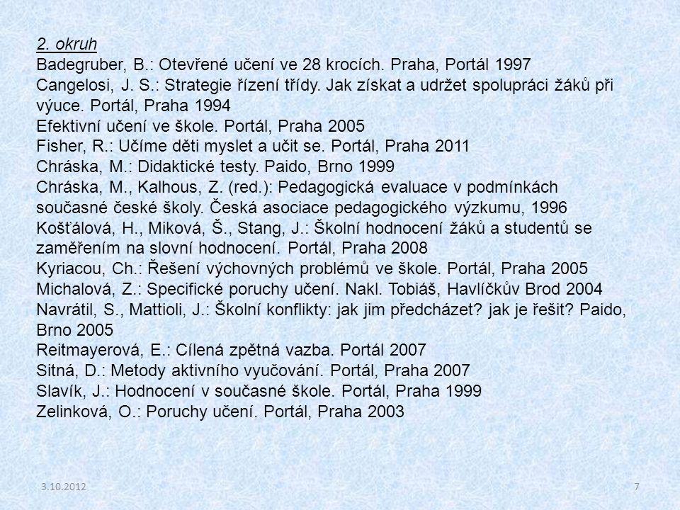 7 2. okruh Badegruber, B.: Otevřené učení ve 28 krocích. Praha, Portál 1997 Cangelosi, J. S.: Strategie řízení třídy. Jak získat a udržet spolupráci ž