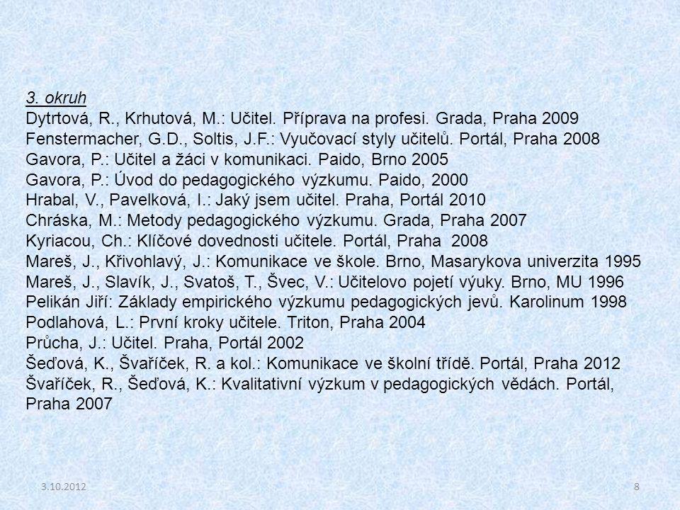 3.10.20128 3. okruh Dytrtová, R., Krhutová, M.: Učitel. Příprava na profesi. Grada, Praha 2009 Fenstermacher, G.D., Soltis, J.F.: Vyučovací styly učit
