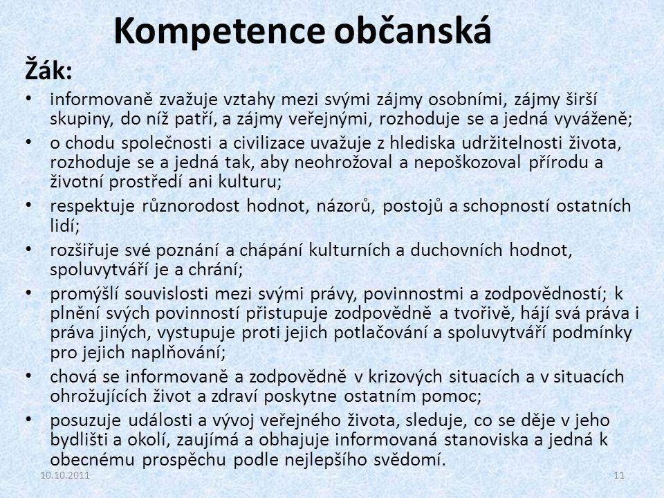Kompetence občanská Žák: informovaně zvažuje vztahy mezi svými zájmy osobními, zájmy širší skupiny, do níž patří, a zájmy veřejnými, rozhoduje se a je