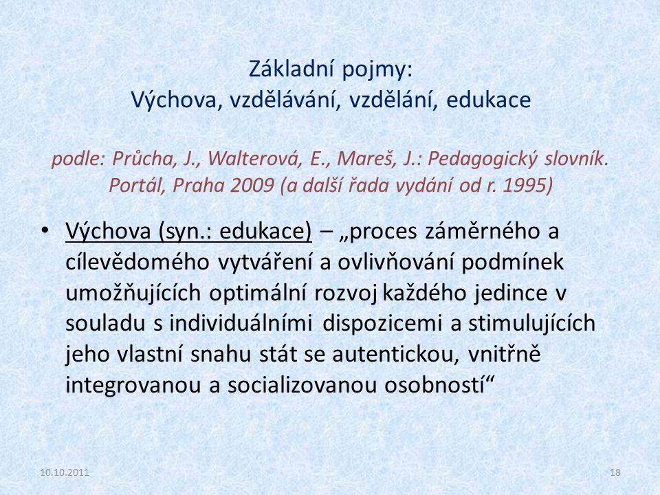 Základní pojmy: Výchova, vzdělávání, vzdělání, edukace podle: Průcha, J., Walterová, E., Mareš, J.: Pedagogický slovník. Portál, Praha 2009 (a další ř
