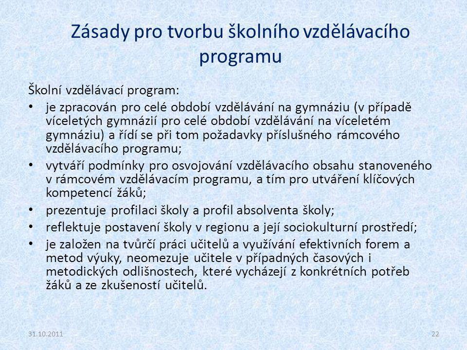 Zásady pro tvorbu školního vzdělávacího programu Školní vzdělávací program: je zpracován pro celé období vzdělávání na gymnáziu (v případě víceletých gymnázií pro celé období vzdělávání na víceletém gymnáziu) a řídí se při tom požadavky příslušného rámcového vzdělávacího programu; vytváří podmínky pro osvojování vzdělávacího obsahu stanoveného v rámcovém vzdělávacím programu, a tím pro utváření klíčových kompetencí žáků; prezentuje profilaci školy a profil absolventa školy; reflektuje postavení školy v regionu a její sociokulturní prostředí; je založen na tvůrčí práci učitelů a využívání efektivních forem a metod výuky, neomezuje učitele v případných časových i metodických odlišnostech, které vycházejí z konkrétních potřeb žáků a ze zkušeností učitelů.