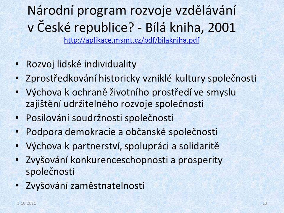 Národní program rozvoje vzdělávání v České republice? - Bílá kniha, 2001 http://aplikace.msmt.cz/pdf/bilakniha.pdf http://aplikace.msmt.cz/pdf/bilakni
