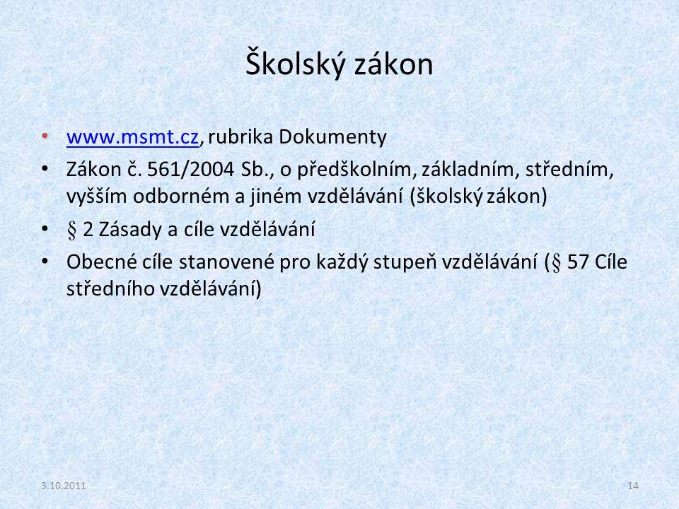 Školský zákon www.msmt.cz, rubrika Dokumenty www.msmt.cz Zákon č. 561/2004 Sb., o předškolním, základním, středním, vyšším odborném a jiném vzdělávání