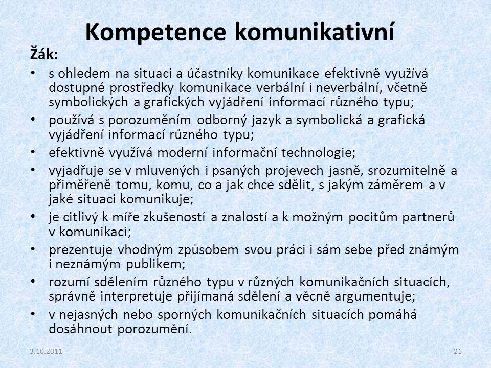 Kompetence komunikativní Žák: s ohledem na situaci a účastníky komunikace efektivně využívá dostupné prostředky komunikace verbální i neverbální, včet
