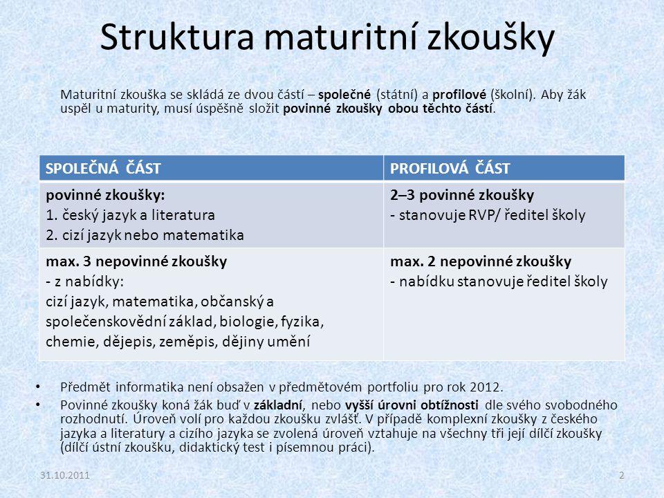 Struktura maturitní zkoušky Maturitní zkouška se skládá ze dvou částí – společné (státní) a profilové (školní). Aby žák uspěl u maturity, musí úspěšně