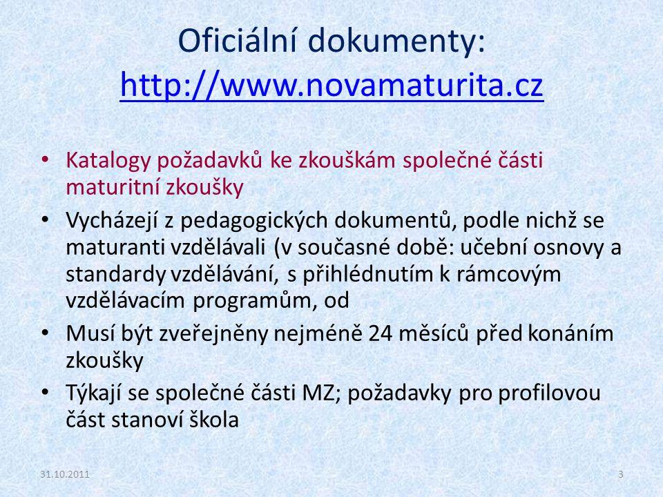 Oficiální dokumenty: http://www.novamaturita.cz http://www.novamaturita.cz Katalogy požadavků ke zkouškám společné části maturitní zkoušky Vycházejí z