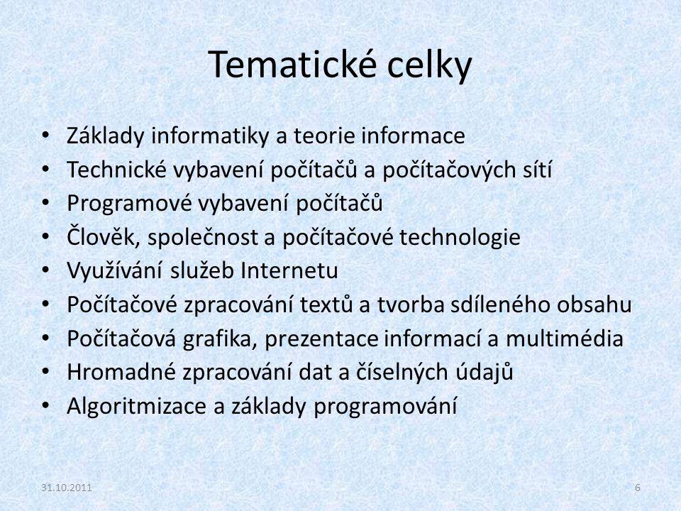 Tematické celky Základy informatiky a teorie informace Technické vybavení počítačů a počítačových sítí Programové vybavení počítačů Člověk, společnost