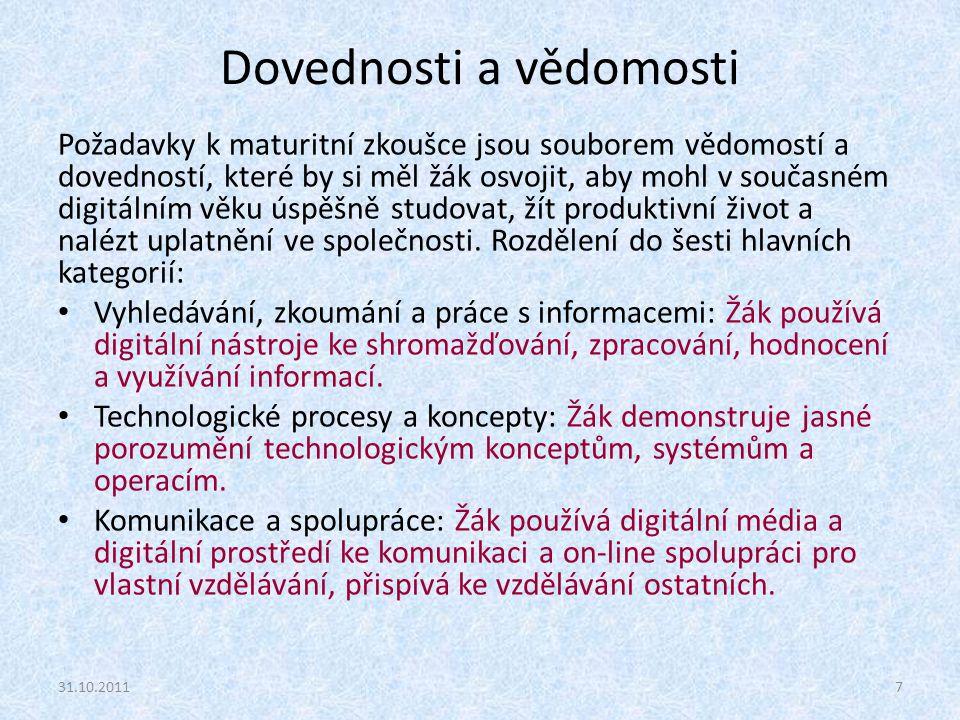 Dovednosti a vědomosti Požadavky k maturitní zkoušce jsou souborem vědomostí a dovedností, které by si měl žák osvojit, aby mohl v současném digitální