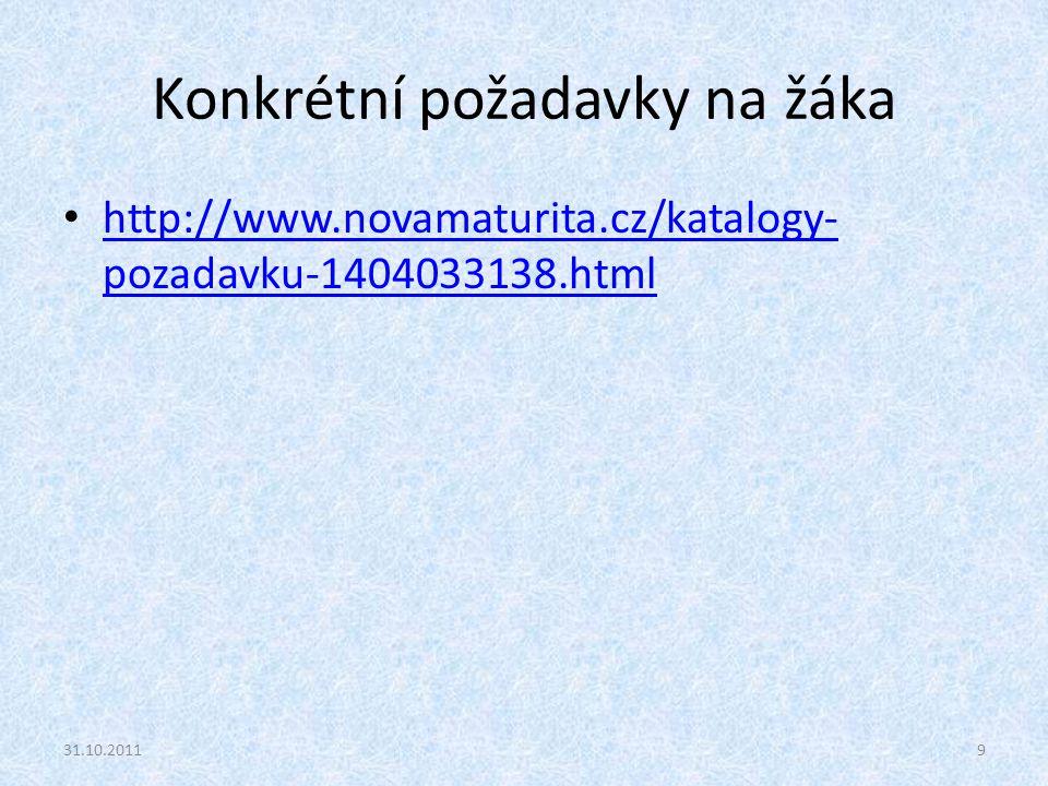 Konkrétní požadavky na žáka http://www.novamaturita.cz/katalogy- pozadavku-1404033138.html http://www.novamaturita.cz/katalogy- pozadavku-1404033138.h