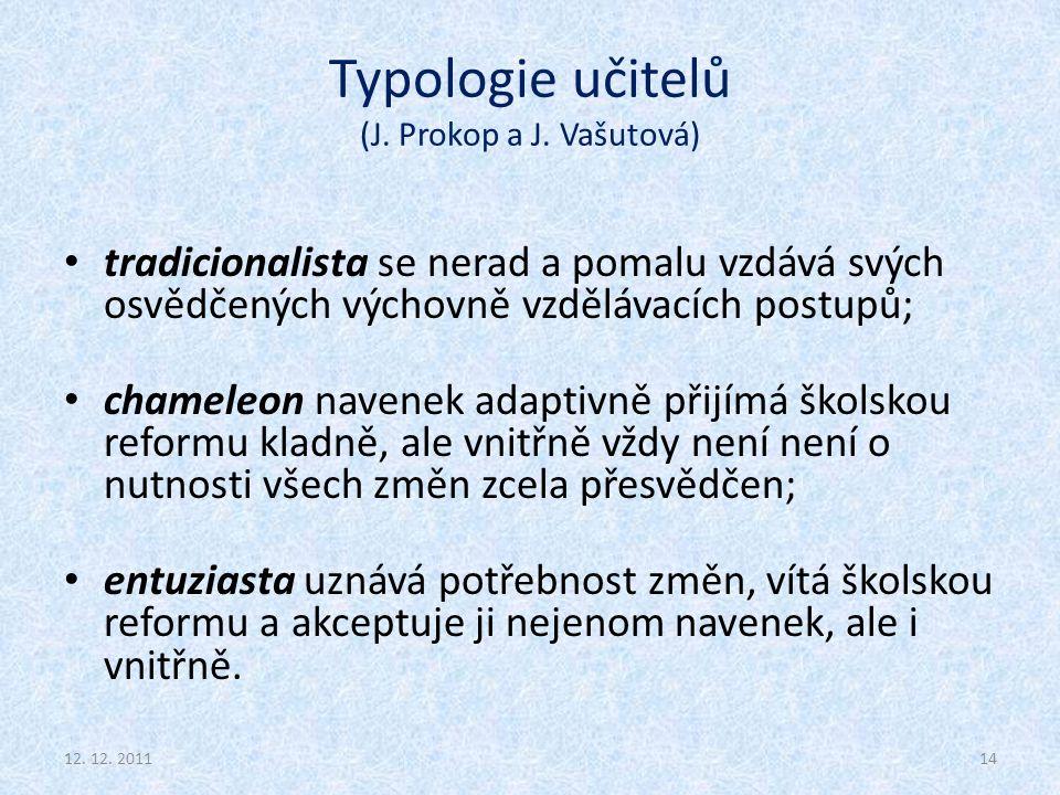 Typologie učitelů (J. Prokop a J. Vašutová) tradicionalista se nerad a pomalu vzdává svých osvědčených výchovně vzdělávacích postupů; chameleon navene