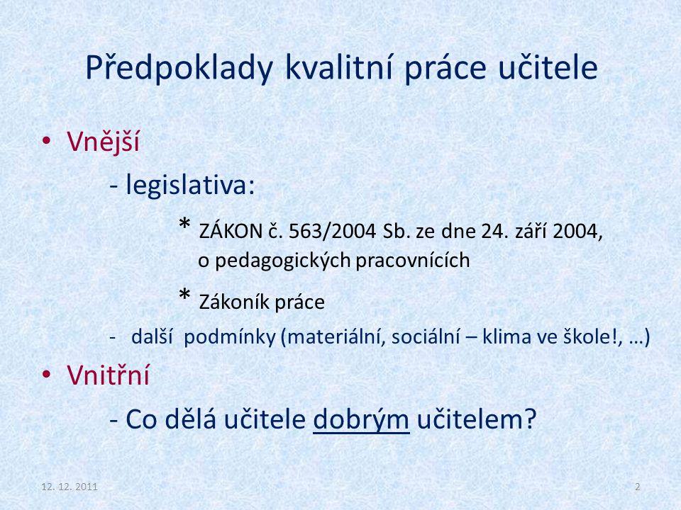 Předpoklady kvalitní práce učitele Vnější - legislativa: * ZÁKON č. 563/2004 Sb. ze dne 24. září 2004, o pedagogických pracovnících * Zákoník práce -
