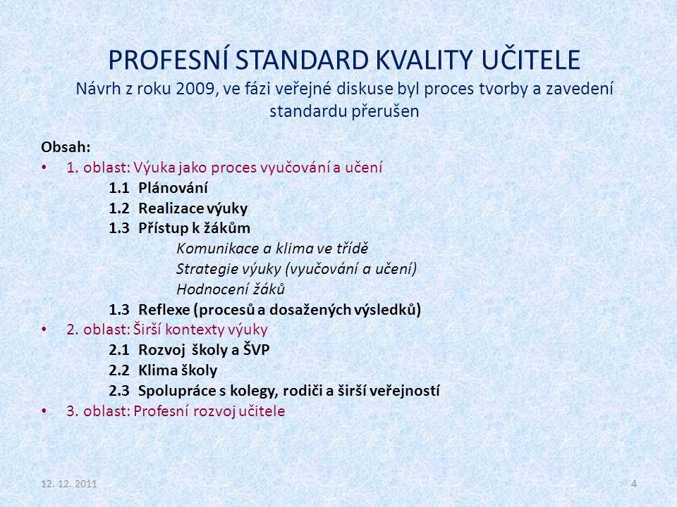 PROFESNÍ STANDARD KVALITY UČITELE Návrh z roku 2009, ve fázi veřejné diskuse byl proces tvorby a zavedení standardu přerušen Obsah: 1. oblast: Výuka j
