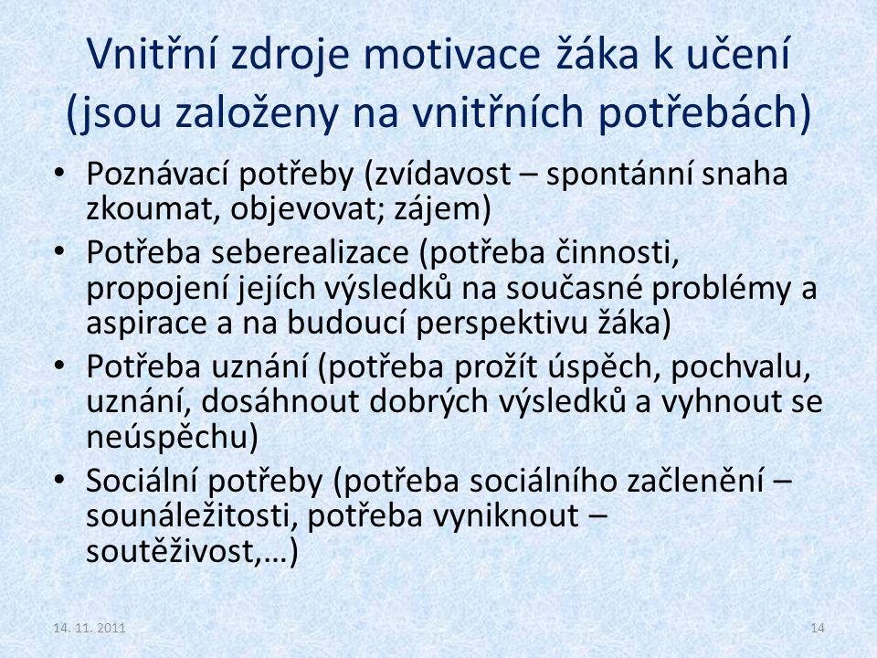 Vnitřní zdroje motivace žáka k učení (jsou založeny na vnitřních potřebách) Poznávací potřeby (zvídavost – spontánní snaha zkoumat, objevovat; zájem)