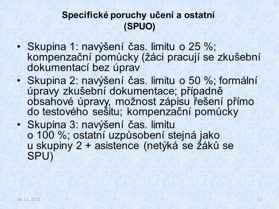 Specifické poruchy učení a ostatní (SPUO) Skupina 1: navýšení čas. limitu o 25 %; kompenzační pomůcky (žáci pracují se zkušební dokumentací bez úprav